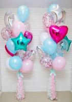 Букеты шаров розово—голубые