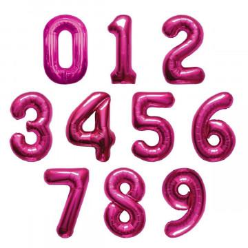 Шар (40''/102 см) Цифра, Фуше, 1 шт.