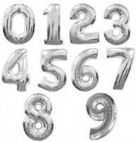 Шар (40''/102 см) Цифра, Серебро, 1 шт.