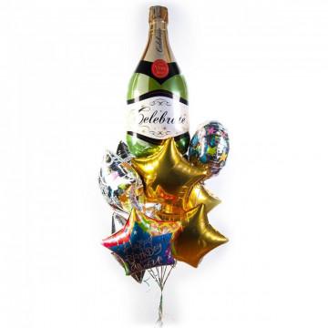 Букет на день рождения с шампанским и звездами