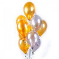 Фонтан золотых и серебряных шариков