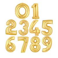 Шар (40''/102 см) Цифра,0-9, Золото, 1 шт.