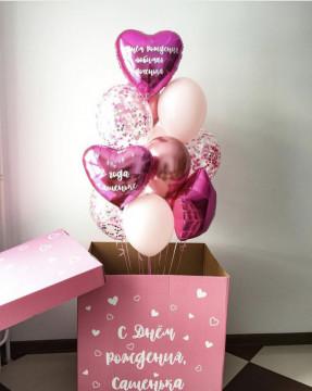 Розовая коробка сюрприз «доченька»