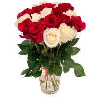 19 белых и алых роз