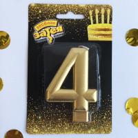 Свеча -цифра 4 Золотая 8см