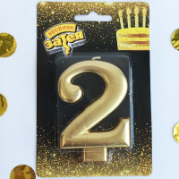 Свеча -цифра «2» Золотая 8см