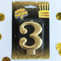 Свеча -цифра «3» Золотая 8см
