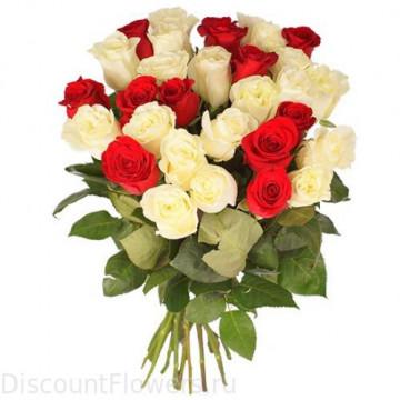 29 белых и Красных Роз