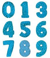 Шар (42''/107 см) Цифра,  Синий со звездами, 1 шт.