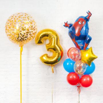 Набор шаров « день рождения с пауком»