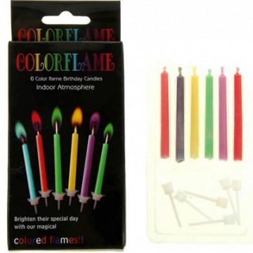 Свечи для торта цветной огонь 6шт