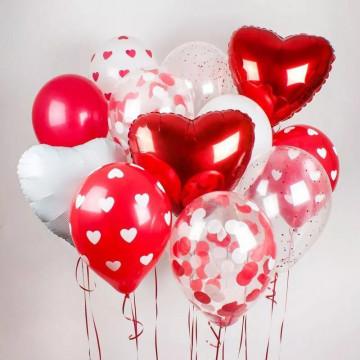 Связка шаров Красно белая любовь