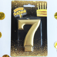 Свеча -цифра 7  Золотая 8см