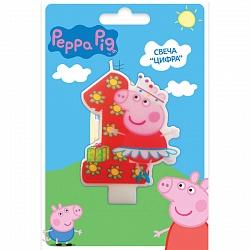 Свеча Цифра 1, Свинка Пеппа, 8 см