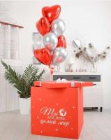 Красная коробка—сюрприз «ты—для меня целый мир»