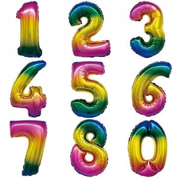 Фольгированные цифры радужный градиент
