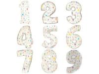 Шар (42''/107 см) Цифра,  Белый со звездами, 1 шт.
