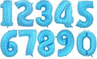 Шар (40''/102 см) Цифра, Синий со звездами, 1 шт.