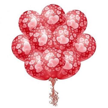 Красные шары с сердечками