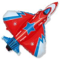 Шар (32''81 см) Фигура, Истребитель, Красный, 1 шт.