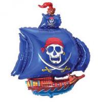 Шар (32''81 см) Фигура, Пиратский корабль, Синий, 1 шт.