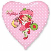 Шар (18'' 46 см) Сердце, Клубничка с покупками, Розовый, 1 шт.