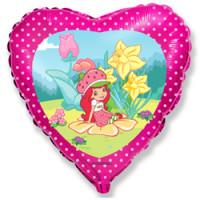Шар (18'' 46 см) Сердце, Клубничка в саду, Розовый, 1 шт.