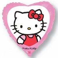 Шар (18'' 46 см) Сердце, Котенок Китти с бантиком, Розовый, 1 шт.