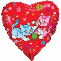 Шар (18'' 46 см) Сердце, Милые котята, Красный, 1 шт.