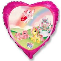 Шар (18'' 46 см) Сердце, Моя маленькая пони в замке, Розовый, 1 шт.