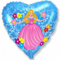 Шар (18'' 46 см) Сердце, Принцесса, Голубой, 1 шт.