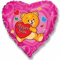 Шар (18'' 46 см) Сердце, Влюбленный счастливый медведь, Фуше, 1 шт.