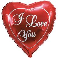 Шар (18'' 46 см) Сердце, Я люблю тебя, Красный, 1 шт.