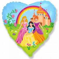 Шар (18'' 46 см) Сердце, Замок принцессы, 1 шт.