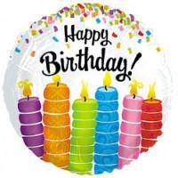 Шар (18''46 см) Круг, С Днем рождения (красочные свечи), Белый, 1 шт