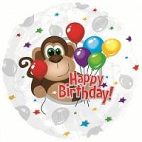 Шар (18''46 см) Круг, С Днем рождения (обезьянка) , Серебро, 1 шт.