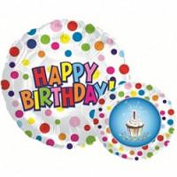 Шар (18''46 см) Круг, С Днем рождения (пирожное), Белый, 1 шт.