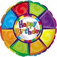 Шар (18''46 см) Круг, С Днем рождения (разноцветный), 1 шт.