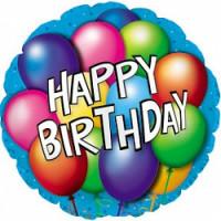Шар (18''46 см) Круг, С Днем рождения (воздушные шарики), Синий, 1 шт.