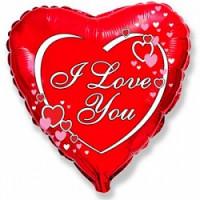 Шар (18''46 см) Сердце, Я люблю тебя (влюбленные сердца), Красный, 1 шт.