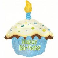 Шар (20'' 51 см) Фигура, Кекс с Днем рождения, Голубой, шт.
