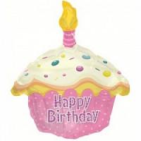 Шар (20'' 51 см) Фигура, Кекс с Днем рождения, Розовый, 1 шт.