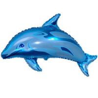 Шар (24'' 61 см) Фигура, Дельфин фигурный, Синий, 1 шт.