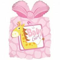 Шар (28'' 71 см) Фигура, Подарок новорожденной девочке, Розовый, 1 шт.