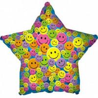 Шар (31'' 79 см) Звезда, Разноцветные улыбки, Синий, 1 шт.