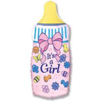 Шар (32'' 81 см) Фигура, Бутылочка для девочки, Розовый, 1 шт.