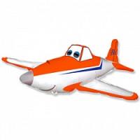Шар (32'' 81 см) Фигура, Гоночный самолет, Оранжевый, 1 шт.