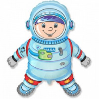 Шар (32'' 81 см) Фигура, Космонавт, Синий, 1 шт.
