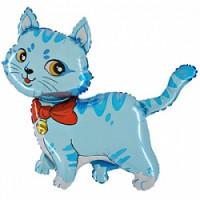 Шар (32'' 81 см) Фигура, Милый котенок, Голубой, 1 шт.