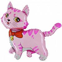 Шар (32'' 81 см) Фигура, Милый котенок, Розовый, 1 шт.